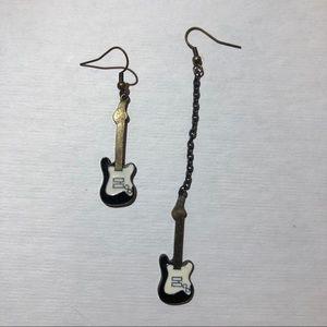 Electric Guitar Earrings High Low Black & White